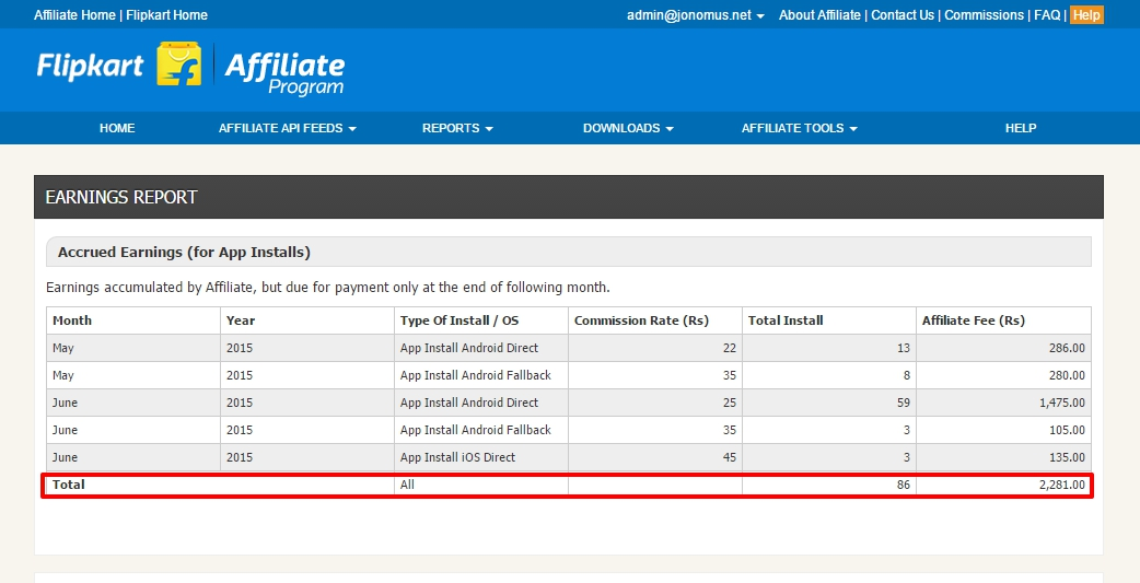 flipkart affilate earning report
