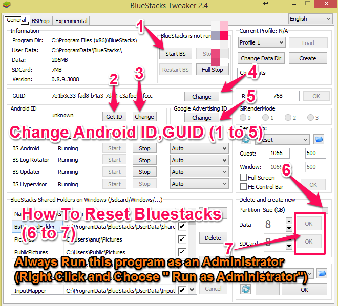 bluestacks and BS tweaker reset and change id