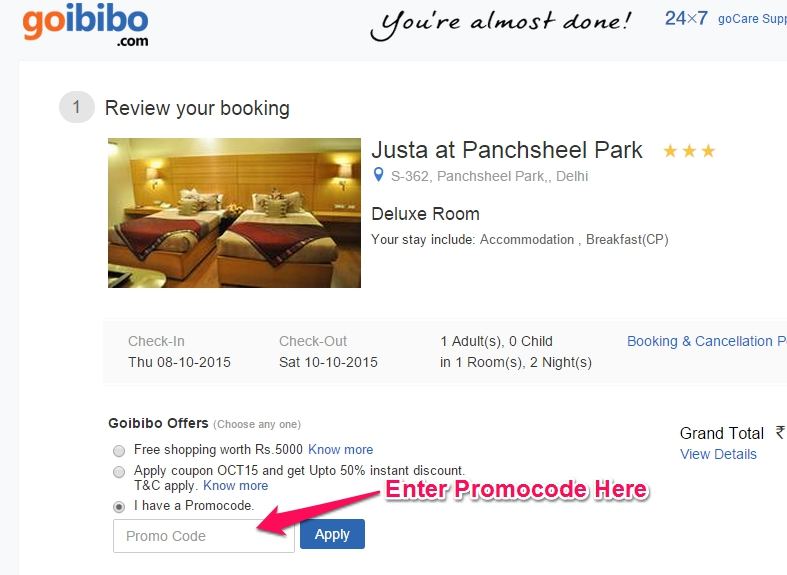 payumoney coupon code for hotel booking