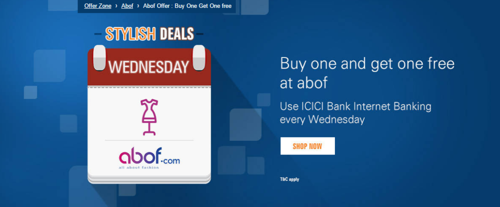 abof icici bank offers